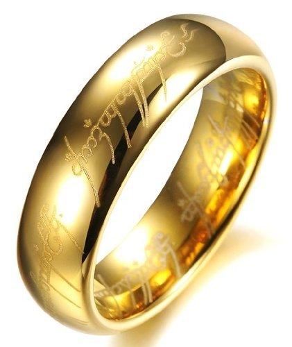 Color Jewels Unisex Verlobungsring Trauring - Herr der Ringe-Stil - Wolframcarbid - Breite 6 mm (Herr Der Ringe Steine)