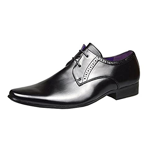 Mens Fashion New Black Leather Shoes Formal Smart Dress UK Size 6 7 8 9 10 11 (UK 7 / EU 41, Black 2)