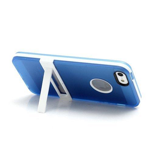 iPhone coque en silicone TPU avec Bumper blanc Support Cadre + 2protecteur d'écran, bleu, iPhone 6S 6 bleu