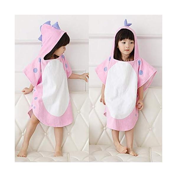 UULMBRJ - Albornoz infantil, diseño de dinosaurio, unisex, con capucha, para playa o para nadar, algodón, Rosa, Small 2