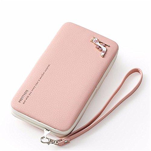 Donna Portafogli, BeautyG portafoglio multifunzionale del supporto del telefono del titolare della carta di credito del raccoglitore del diamante alto-tallonato (blu) rosa