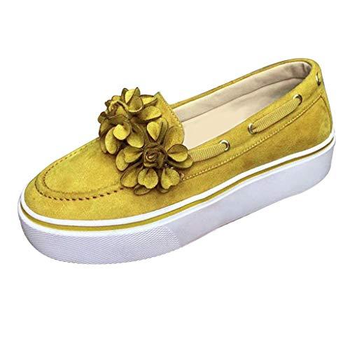 Epig Round Toe Womens Flache beiläufige Blume einzelne Schuhe Plus Size Pumps Plattform Studenten Schuhe -