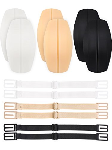 3 Paar Bra Gurt Kissen Halter Silikon Schulter Protektoren Pads mit 6 Stück Anti Rutsch Elastik BH Gurt Klammer Halter, Weiß, Beige und Schwarz (Halten Rutschen Bh-träger)