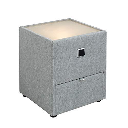 Riess Ambiente Moderne Nachtkommode Joy grau mit indirekter Beleuchtung Nachttisch für Boxspringbetten Tisch Schlafzimmer