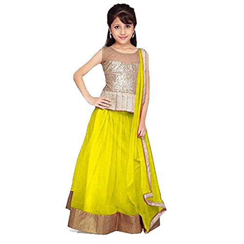 CmDeal Yellow & Golden Color Party Wear Semi-Stitched Embroidered Net Lehenga Choli With Heavy Designer Brocket Top-5223LAC5035  available at amazon for Rs.249