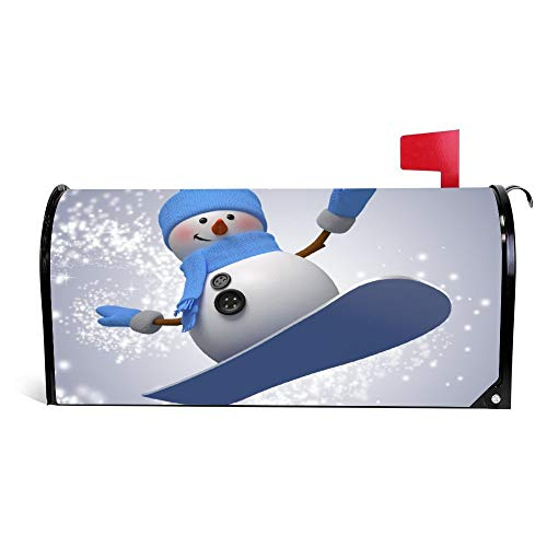 Snowman Playing Skateboard Magnetic Mailbox Cover Wraps Post Box Canvas Garden Yard Home Decor for Outside - 21