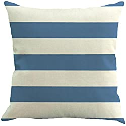 Funda de almohada, Feixiang exclusivo personalización caliente venta rayas pintura lino funda para cojín manta funda de almohada sofá decoración del hogar, plástico, azul claro, Medium