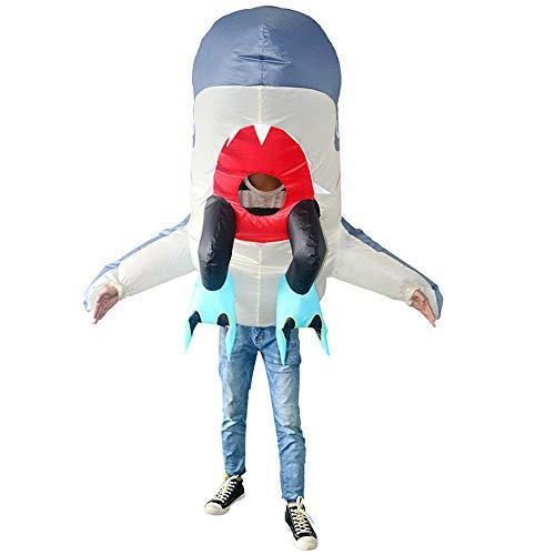 MIMI KING Cannibal Shark Aufblasbare Kostüm Erwachsene, Beängstigende -