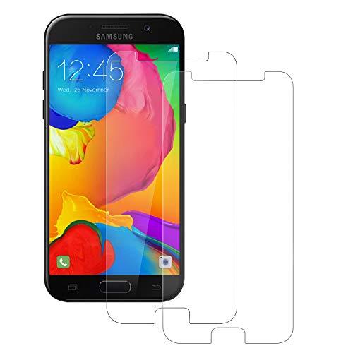 POOPHUNS 2 Stück Panzerglas Schutzfolie kompatibel mit Samsung Galaxy A5 2017, Gehärtetes Glas Bildschirmschutzfolie mit 9H Härte, HD Ultra Klar, Anti-Kratzen, Anti-Öl, Bildschirmschutz Folie für A5 2017