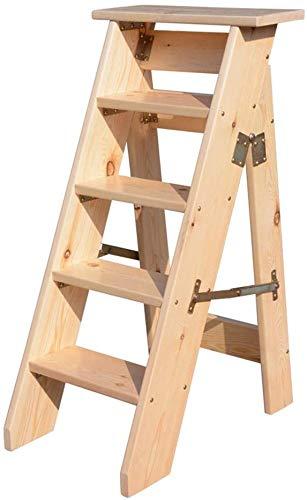 5 peldaños, peldaño de madera maciza, escalera de tijera, escalera plegable, estante de flores de madera