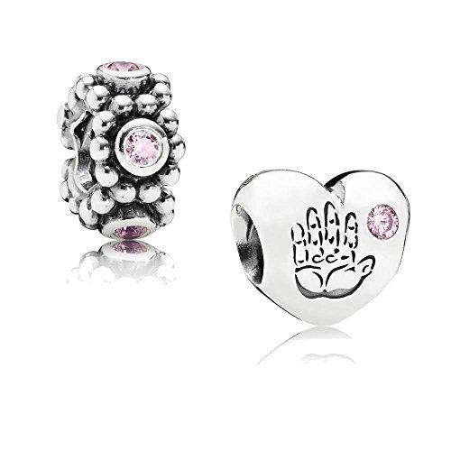 Original Pandora Geschenkset - 1 Silber Element Baby Mädchen mit rosafarbenem Zirkonia 791280PCZ und 1 Silber Zwischenelement Rosa Kreise mit rosafarbenem Zirkonia 791122PCZ