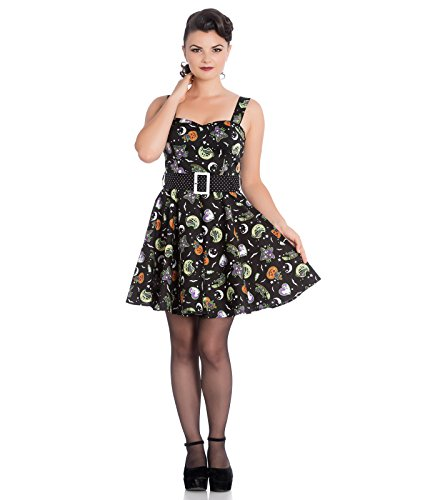 Hell Bunny Salem Halloween ghost pumpkin Minikleid - Schwarz, UK 22-24 (4XL)