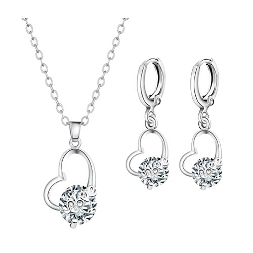 Quanjucheer donne girls lovely collana e orecchini con ciondolo a forma di cuore intarsiato zircone party jewelry decor