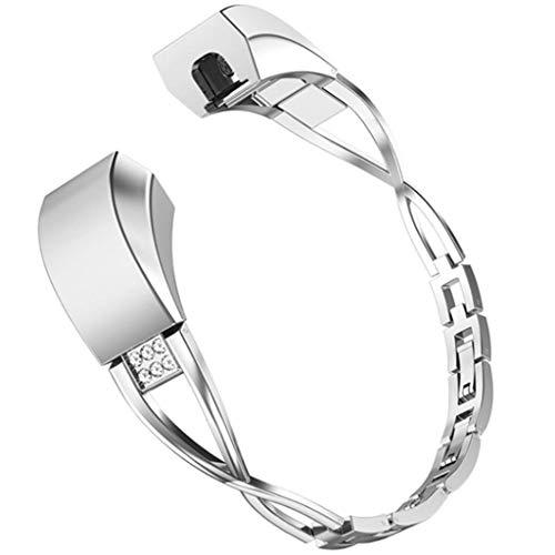 WAOTIER für Fitbit Alta Armband Kristaller Armband mit Strasssteinen Deko Edelstahl Ketten Durchbrochene Muster Armband für Fitbit Alta Armband Slim Glitzer Armband für Frauen (Silber)