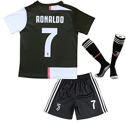 BTA APPAREL 2019/2020 Juventus #7 Cristiano Ronaldo Heim Kinder Fußball Trikot Hose und Socken Kindergrößen (30 (12-14 Jahre), Heim (Neu 19/20))