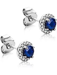 35c701056a93 Orovi Pendientes Señora presión en Oro Blanco con Diamantes Talla Brillante  0.09 ct y Zafiro azul