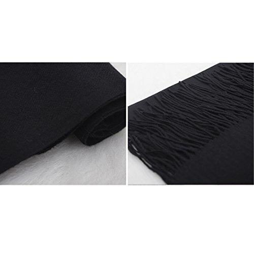 GWELL Capes Ponchos Femme Echarpe Couleur Pure Châle Chaud Tricot Noir