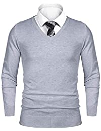 iClosam Pull Homme col V Cardin Hommes Pull en Maille Pull en Coton Classiques