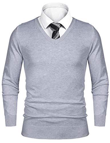 iClosam Pullover Herren V-Ausschnitt Langarm Baumwolle Sweater