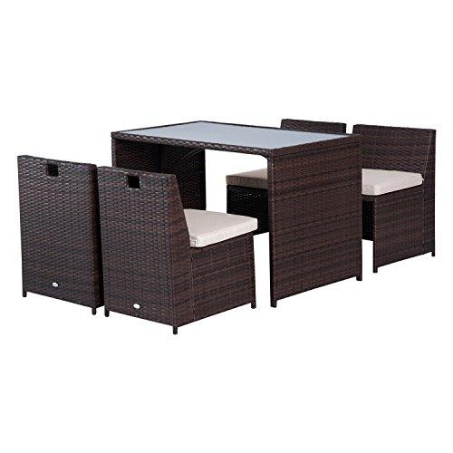 Outsunny set mobili da giardino in rattan 5pz tavolo pranzo 4 sedie con cuscini
