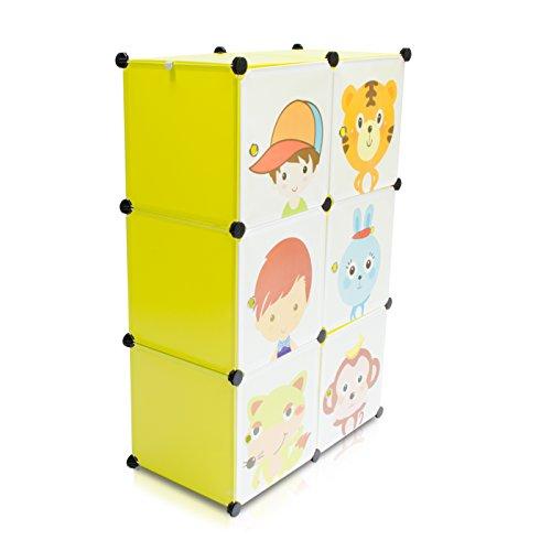 VENKON - Kinderzimmer Steckschrank DYI Steckregal System Regalschrank: 6-Module-Set, grün