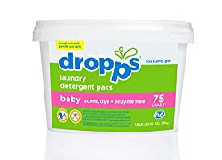 Dropps Baby Laundry Detergent Packs, Baby, 75 Count
