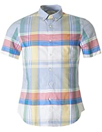 Farah Vintage Croxted Check Short Sleeved Shirt WHITE SMALL