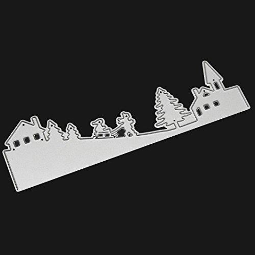 TWIFER Frohe Weihnachten Metall Schneiden stirbt Schablonen Scrapbooking Prägung DIY Handwerk (B:143x42mm, Silber) (Mat Mann Kostüm)