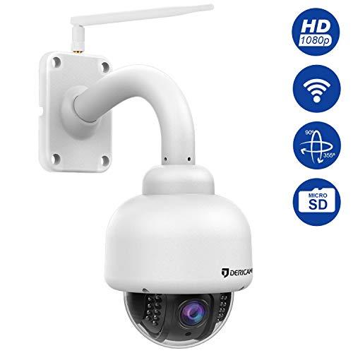 Dericam Outdoor Wireless Überwachungskamera, PTZ-Outdoor-Kamera, Crystal Full HD 1080P, 4 x optischer Zoom, Autofokus, vorinstallierte 32GB Speicherkarte, S2-32G Weiß (Web-browsern)