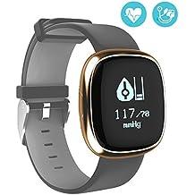 Fitness Activity Tracker Smart Band monitor de ritmo cardíaco Mira Paso Paseo Contador de sueño Wristband inalámbrico Pedometer Seguimiento de ejercicio Pulsera deportiva para iOS Android Smart Phones (Gris + oro)