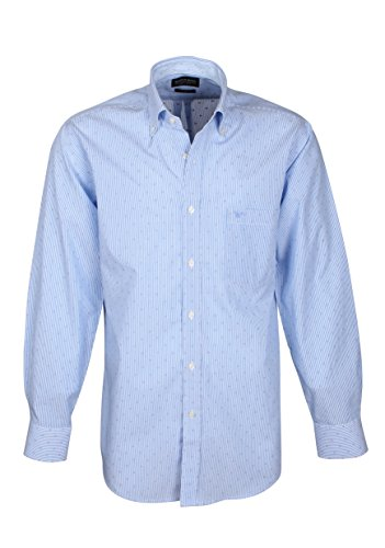 166017 Bots & Bots – Camicia Uomo – Puro Cotone – a Righe e Jaquard Design – Button Down – Normal Fit