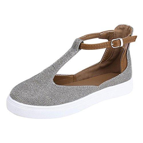 Zapatillas para Mujer Verano 2018 Zapatos de Plano Lona Dama PAOLIAN Tira de Tobillo Casual Cómodo...