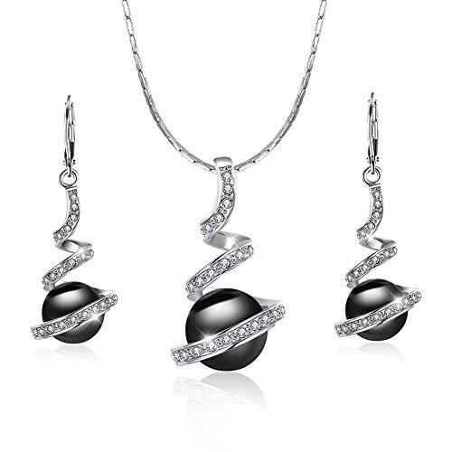 Perlen Schmuckset Damen Ohrringe Baumeln Teens Elegante Kristall Dating Engagement Halsketten Damen Vintage Schmuck Set für Frauen (Black Set)