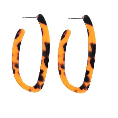Acryl Schildkröte Schale Leopard Geo Creolen Ohrringe für Frauen (Braun Geometrisch Creolen ()