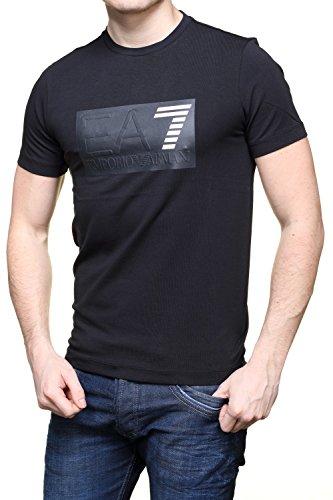 Emporio Armani EA7 Herren T-Shirt Kurzarm Kurzarmshirt runder Kragen Weiß Nero