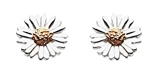 Dew Sterling Silver and Gold Plated Daisy Stud Earrings 4081GD