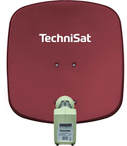 TechniSat DIGIDISH 45 Satellitenschüssel, 45 cm Sat-Anlage mit Wandhalterung und Universal Twin-LNB (Zwei Teilnehmer) rot