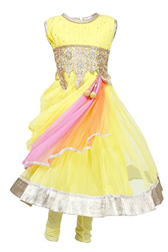 JBN Creation Girls' Yellow Kurti & Leggings Set With Embroidered Waist Line And Knotted Dupatta (Size: 6-7 Years)