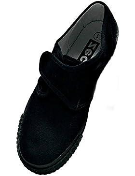 Ropa de descanso para niñas para la escuela/palo de golf para niños/adultos de Velcro en color negro Plimsoles...