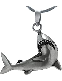 Shark Pewter Pendant with Cotton Necklace