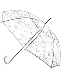 Totes Womens White Floral Pvc Walking Umbrella