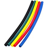 M. A. Enterprises 3mm in 2m Polyolefin Assortment Ratio 2:1 Heat Shrink Tubing Tube Sleeving for Wrap (Black, Red, Green, Yellow and Blue)