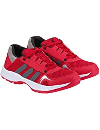 Kzaara Red Grey Mesh Lace-Up Sport Shoes For Men
