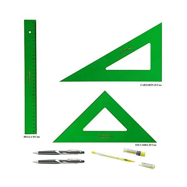 PACK LOTE Faber Castell Técnico – Regla 813-30 Cms + Escuadra 566-25 Cms + Cartabón 666-25 Cms + REGALO