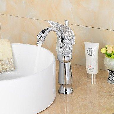 Lozse Chrom-Finish zeitgenössische Schwanform Badezimmer Waschbecken Wasserhahn (groß) - Splitter, - Splitter Küchenarmatur