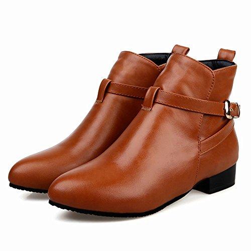 Mee Shoes Damen chunky heels runde kurzschaft Ankle Boots Hellbraun
