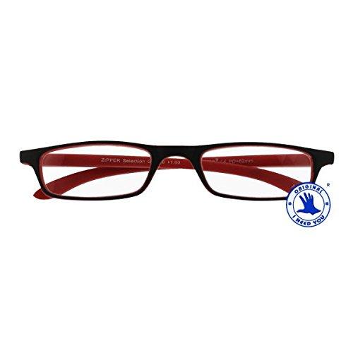 I NEED YOU Lesebrille Zipper Selection SPH: 1.50 Farbe: schwarz-rot, 1 Stück
