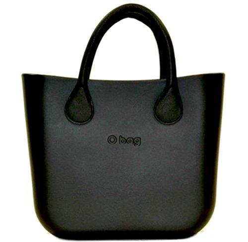 Borsa o bag nera+manici in eco pelle corti neri (no sacca)