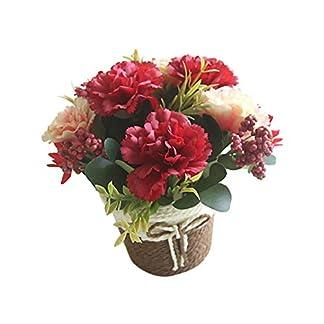Gysad Flor artificial Clavel Maceta planta artificial Canasta De Flores De Ratán Planta artificial con flores Retro y encantador Flor artificial para decoracion