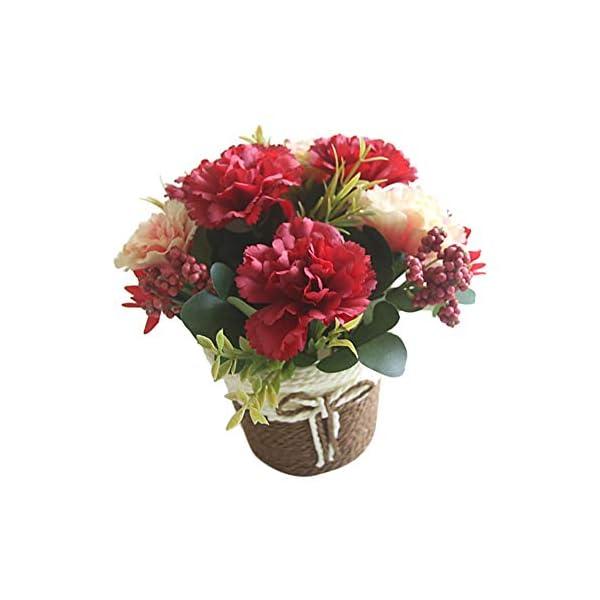 Gysad Flor artificial Clavel Maceta planta artificial Canasta De Flores De Ratán Planta artificial con flores Retro y…